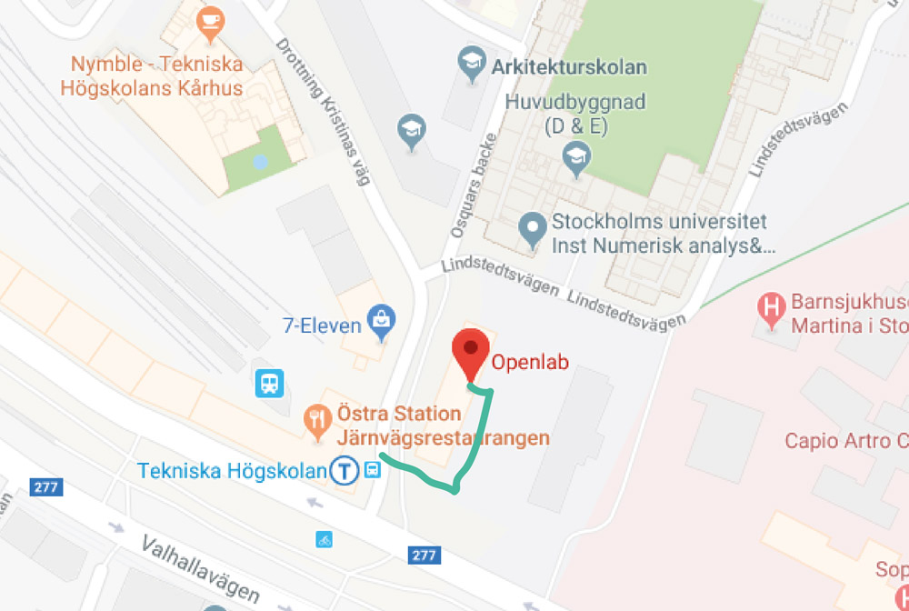 Directions to Open Lab from Tekniska Högskolan T-bana station