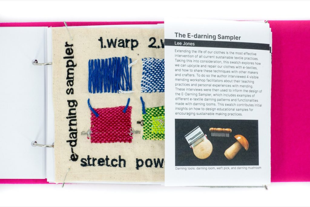 The next page of the swatchbook introduces the E-darning sampler by Lee Jones.