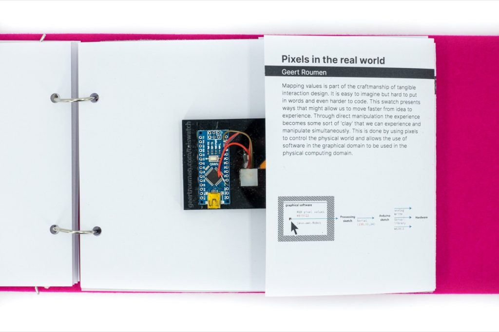 This picture introduces the project Pixels in the Real World by Geert Roumen.