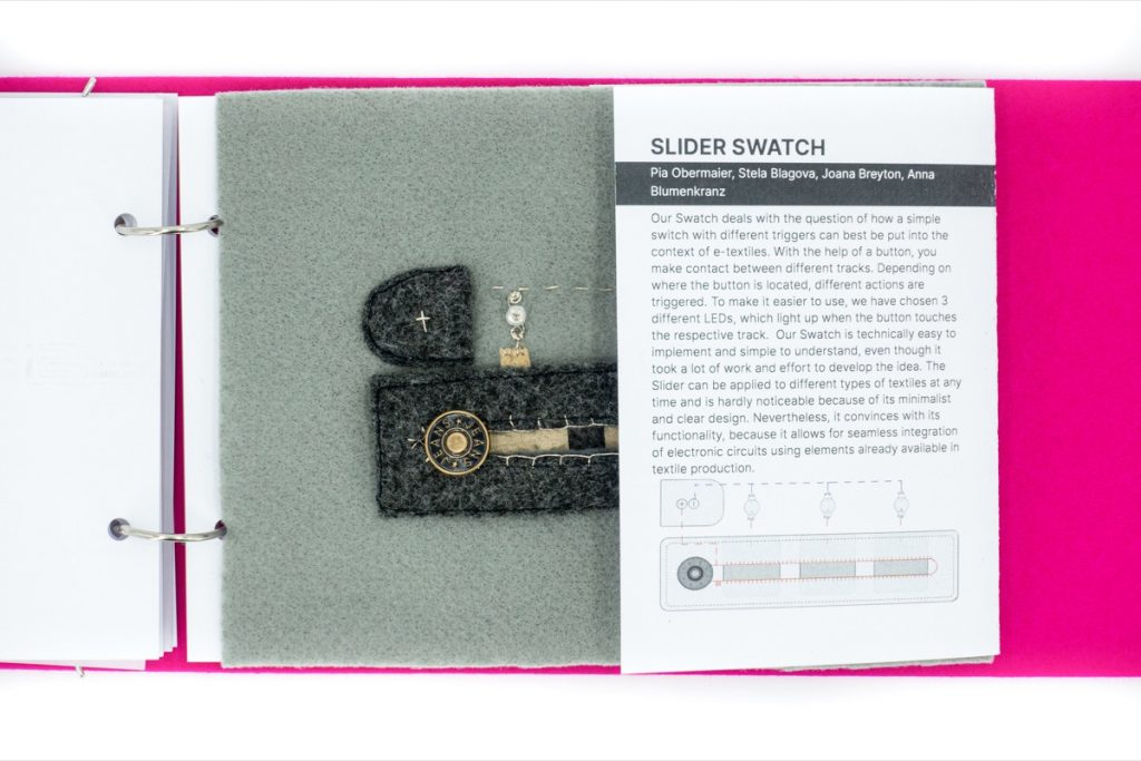 The next page of the swatchbook introduces the project Slider Swatch by Pia Obermaier, Stela Blagova, Joana Breyton and Anna Blumenkranz.